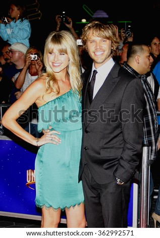 "Eric Christian Olsen and Sarah Wright at the Los Angeles Premiere of ""The Thing"" held at the Universal Studios in Hollywood, California, United States on October 10, 2011.  - stock photo"