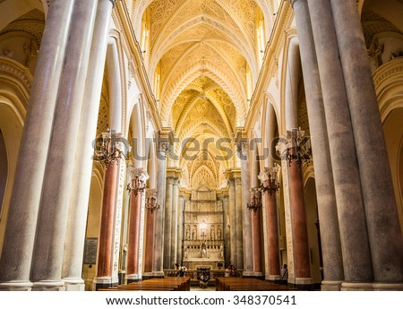 ERICE, ITALY - SEPTEMBER 12, 2015: Interior of the Erice Cathedral, Sicily, Italy. One of the main attractions of Erice.