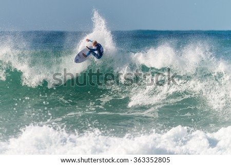 ERICEIRA, PORTUGAL - JANUARY 12, 2015: Dylan Lightfoot (ZAF) during the 2016 World Junior Championships, Men's Junior Tour #1 at Ribeira D'Ilhas beach - Ericeira, Portugal.