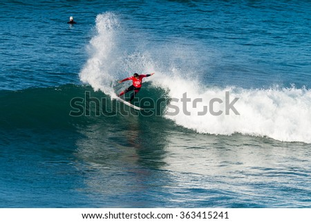 ERICEIRA, PORTUGAL - JANUARY 13, 2015: Hiroto Ohhara(JPN) during the 2016 World Junior Championships, Men's Junior Tour #1 at Ribeira D'Ilhas beach - Ericeira, Portugal.