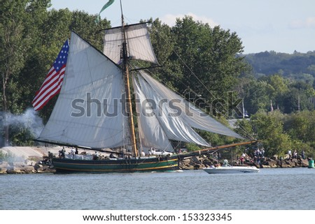 Erie, Pennsylvania, USA - September 5, 2013: The Friends Good Will sailing into the 2013 Tall Ships Erie Festival - stock photo