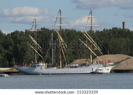 Erie, Pennsylvania, USA - September 5, 2013: The Sorlandet sailing into the 2013 Tall Ships Erie Festival