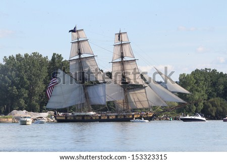 Erie, Pennsylvania, USA - September 5, 2013: The US Brig Niagara sailing into the 2013 Tall Ships Erie Festival