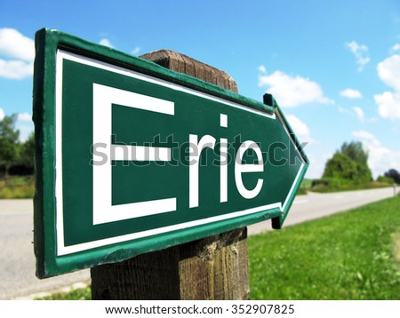 Erie signpost along a rural road