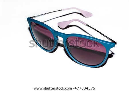Erika blue sunglasses with purple lens on white background