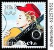 ERITREA - CIRCA 2000: A postage stamp printed in Eritrea showing Madonna Louise Ciccone, circa 2000 - stock photo