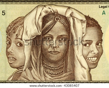 ERITREA - CIRCA 1997:  African girls on 1 Nakfa 1997 banknote from Eritrea.
