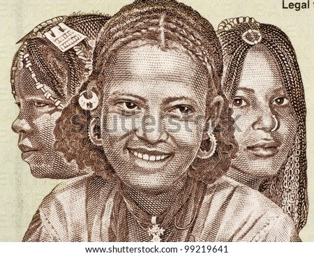 ERITREA - CIRCA 1997: Eritrean Girls on 20 Nakfa 1997 Banknote from Eritrea.