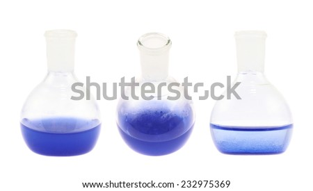 Erlenmeyer flask filled with the blue colored liquid isolated over the white background, set of three foreshortenings - stock photo
