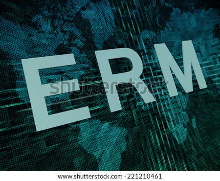 ERM - Enterprise Risk Resource Management text concept on green digital world map background  - stock photo