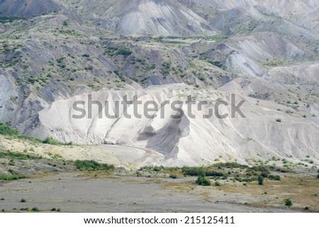 Eroded area at Mount Saint Helens landslide - stock photo