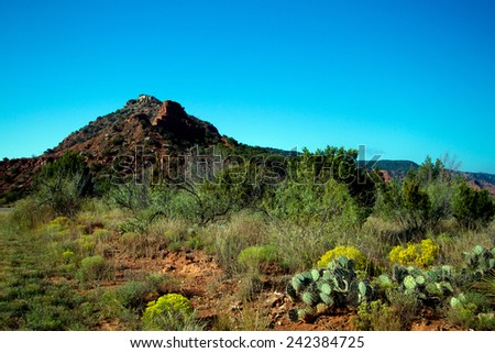 Eroded geological formation in Caprock Canyons State Park in Texas - stock photo