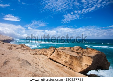 Eroded  west coast of Fuerteventura at Jandia, close to La Pared