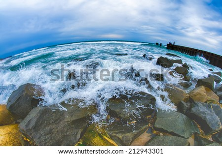 eroding    coastlines throughout the east coast  and around the world - stock photo