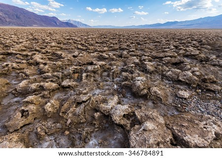 Erosed soil on Devils Golf Course, Death Valley, California, USA - stock photo