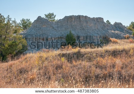 Erosion features in the area of the Guernsey State Park of Wyoming.