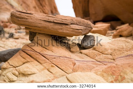 Erosion, more than 150 million years old sandstone, Valley of Fire State Park, Nevada's oldest State Park northeast of Las Vegas, Nevada, USA. Always worth a visit! - stock photo