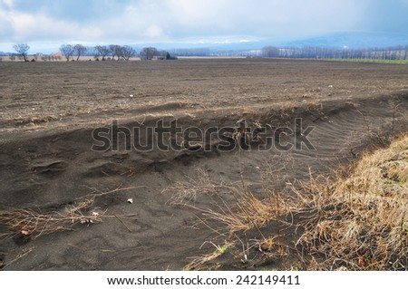 Erosion of soil, agriculture issue. - stock photo