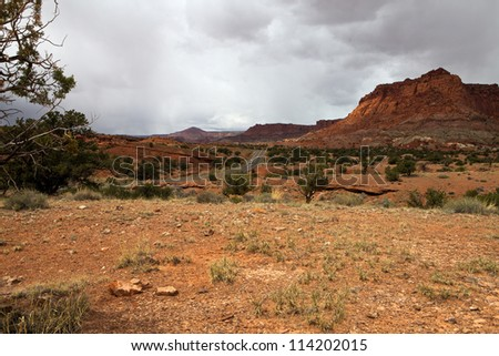 Erosional landscape with road and rocks in Utah, USA