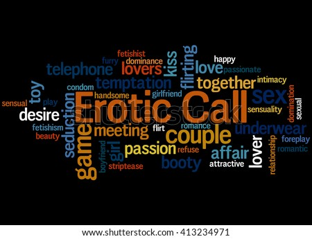 Erotic Call, word cloud concept on black background.