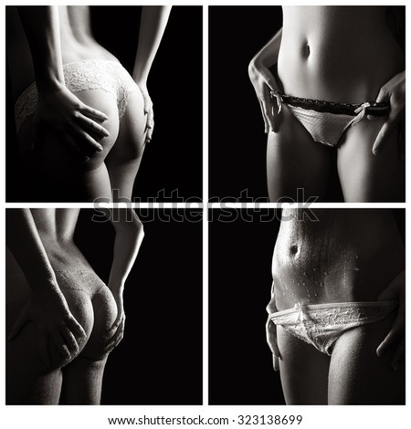 Erotic female body parts, beauty concept, collage of four black and white photos  - stock photo