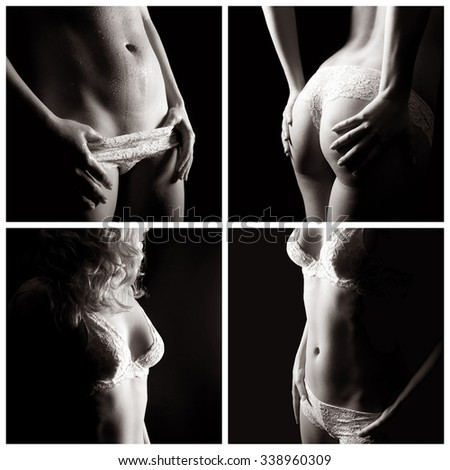 Erotic female body parts, beauty concept, four closeups of an attractive underwear model, monochrome photos - stock photo