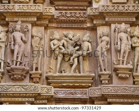 Erotic figures at Khajuraho temples