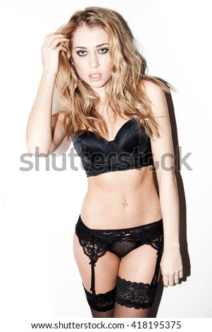 Erotic photo of young and beautiful woman in sexy underwear