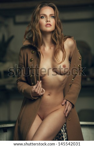 Erotic portrait of a beautiful sexy woman - stock photo