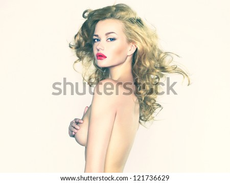 Erotic portrait of nude beautiful woman. Sexy blonde. - stock photo