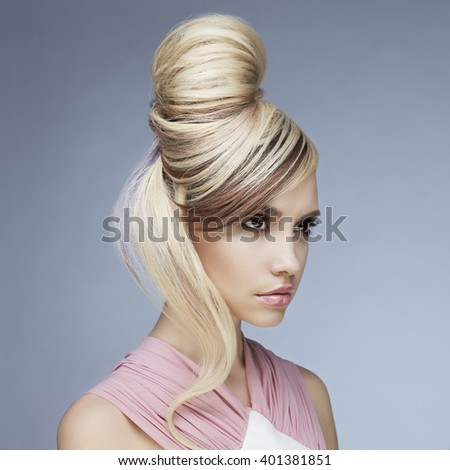 Erotic portrait of young beautiful woman. Sexy blonde. - stock photo