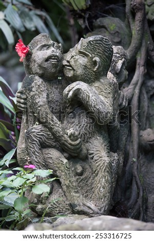 Erotic sculptures on the street in Bali, Indonesia - stock photo