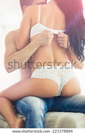 Erotic Young Couple During Foreplay