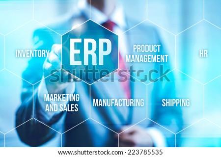 ERP computer software concept businessman selecting interface - stock photo