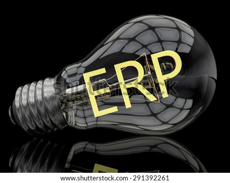 ERP - Enterprise Resource Planning - lightbulb on black background with text in it. 3d render illustration. - stock photo