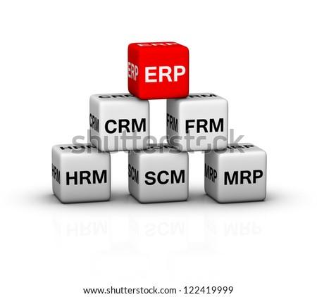 ERP (Enterprise Resource Planning) System illustration - stock photo