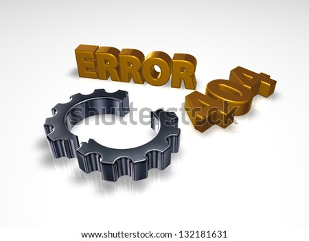 error 404 page not found - message and broken cogwheel - 3d illustration - stock photo
