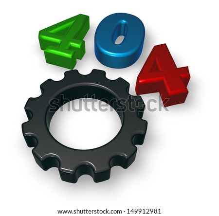 error 404 page not found - message and gear wheel - 3d illustration