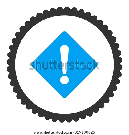 Error round stamp icon. This flat glyph symbol is drawn with blue and gray colors on a white background. - stock photo