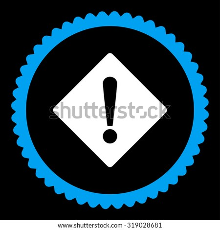 Error round stamp icon. This flat glyph symbol is drawn with blue and white colors on a black background. - stock photo
