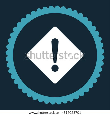 Error round stamp icon. This flat glyph symbol is drawn with blue and white colors on a dark blue background. - stock photo
