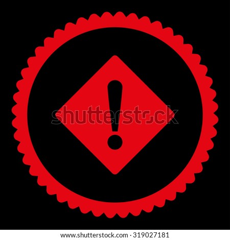 Error round stamp icon. This flat glyph symbol is drawn with red color on a black background. - stock photo