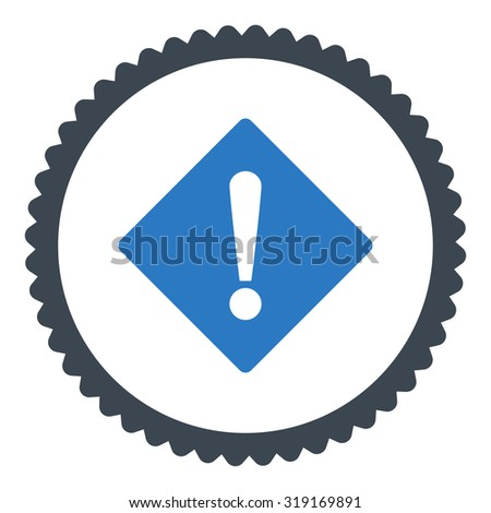 Error round stamp icon. This flat glyph symbol is drawn with smooth blue colors on a white background. - stock photo