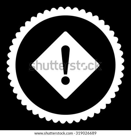 Error round stamp icon. This flat glyph symbol is drawn with white color on a black background. - stock photo