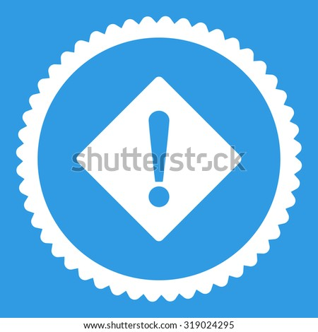 Error round stamp icon. This flat glyph symbol is drawn with white color on a blue background. - stock photo