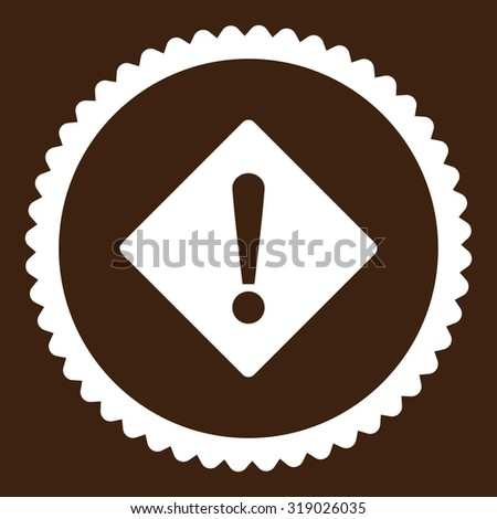 Error round stamp icon. This flat glyph symbol is drawn with white color on a brown background. - stock photo