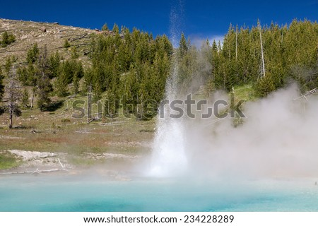 Errupting Geyser - stock photo