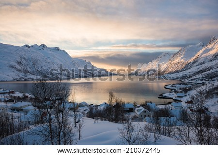Ersfjordbotn at Sunset, Tromso, Norway - stock photo