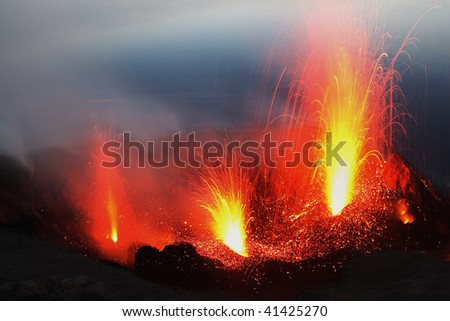 Eruptinf volcano Stromboli in Italy - stock photo