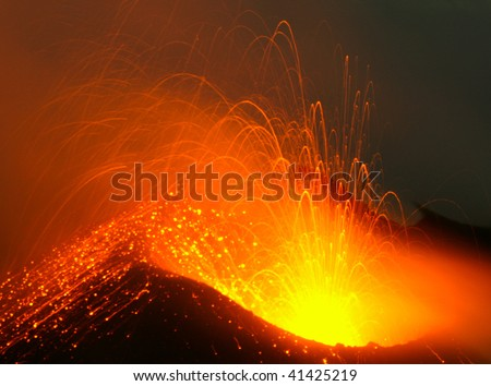 Erupting east crater of volcano Stromboli in Taly - stock photo